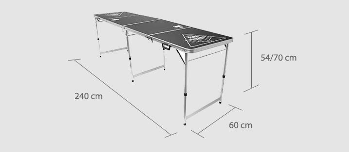 noleggio tavolo beer pong misure
